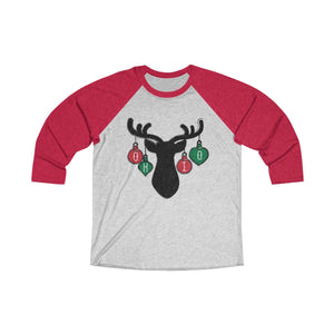 Ohio Holiday Ornaments Unisex Tri-Blend 3/4 Raglan Tee