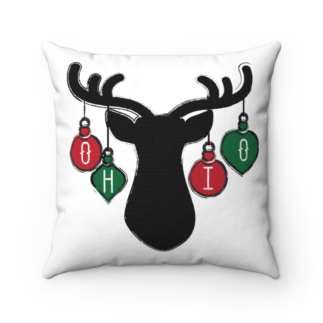 Ohio Holiday Ornaments Spun Polyester Square Pillow