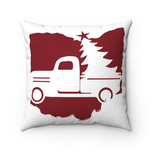 OH Holiday Truck Spun Polyester Square Pillow
