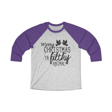 Load image into Gallery viewer, Merry Christmas Ya Filthy Animal Tri-Blend 3/4 Raglan Tee - Double Sided