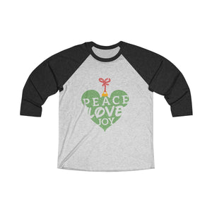 Peace Love and Joy Unisex Tri-Blend 3/4 Raglan Tee - Light