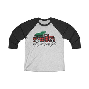 Merry Christmas Yall Tri-Blend 3/4 Raglan Tee - Light