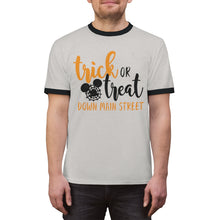 Load image into Gallery viewer, Trick or Treat Down Mainstreet Unisex Ringer Tee