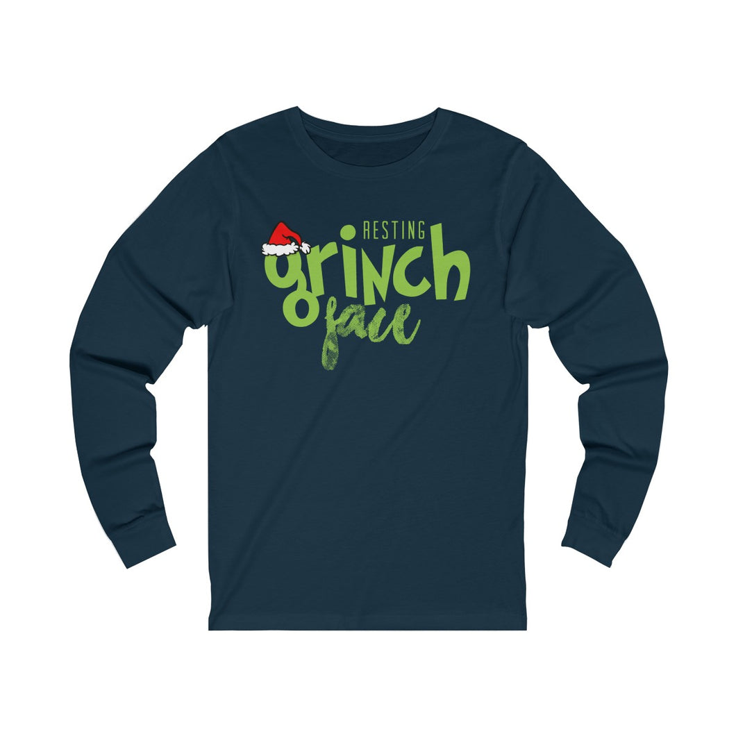 Resting Grinch Face Unisex Jersey Long Sleeve Tee
