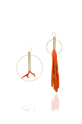 Circle Asimetric Coral Earrings