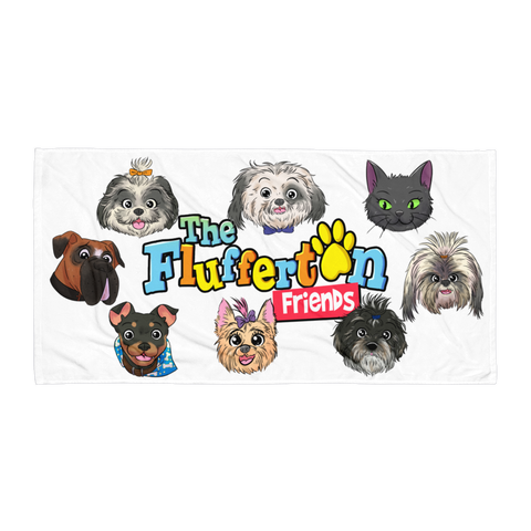 """Flufferton Friends"" Beach Towel"