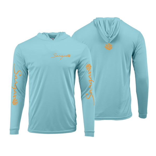 Aqua Blue and Fluorescent Orange Logo