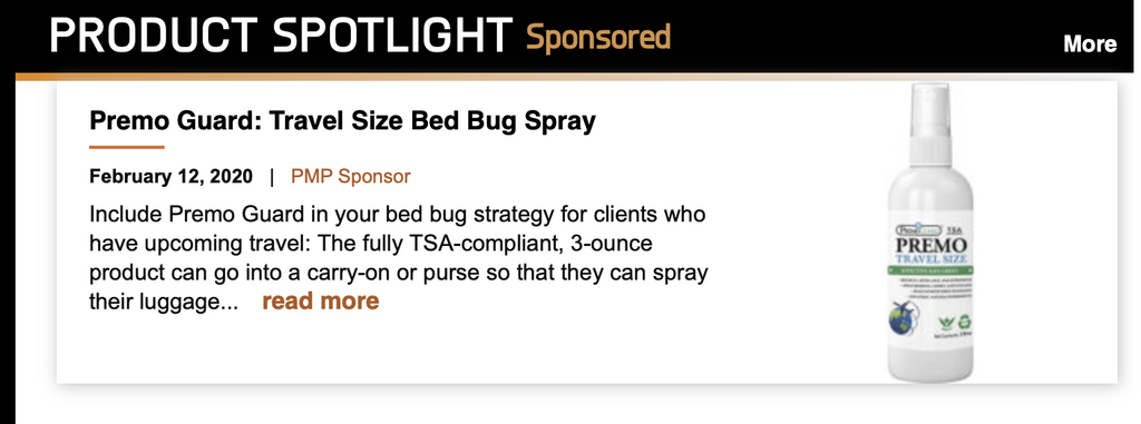 NEWS: Premo Guard New Travel Bed Bug Spray Featured Product by Pest Management Professional Magazine