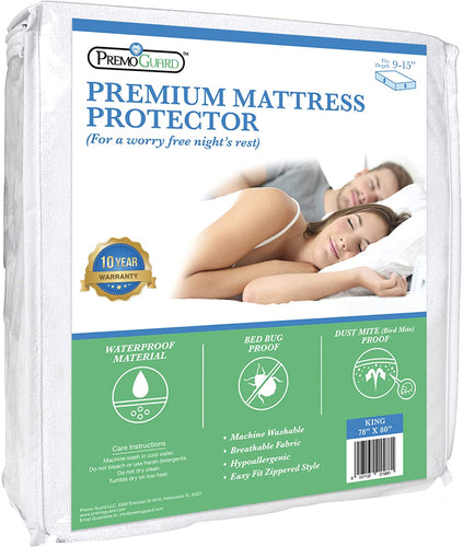 Mattress Bed Protector by Premo Guard - Premium Quality - Hypoallergenic - 100% Waterproof Fabric - Fitted Zippered Encasement Cover - Bed Bug & Mite Proof - Breathable & Machine Washable - King
