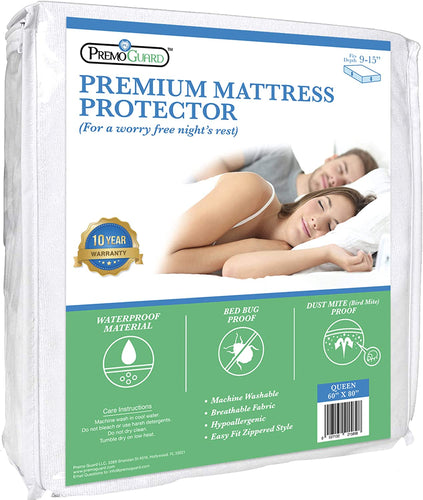 Mattress Bed Protector by Premo Guard - Premium Quality - Hypoallergenic - 100% Waterproof Fabric - Fitted Zippered Encasement Cover - Bed Bug & Mite Proof - Breathable & Machine Washable - Queen