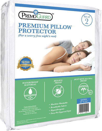 Premo Guard Pillow Protector 2 Pack - Queen Size - Premium - Hypoallergenic - 100% Waterproof Fabric - Fitted Zippered Encasement Cover - Bed Bug & Mite Proof - Breathable & Machine Washable