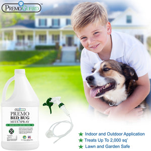 Premo Bed Bug, Mite Killer & Lice Killer Spray - 128 ounce - Natural Non Toxic - Safe - Eco-Friendly-listing-image-boy-dog