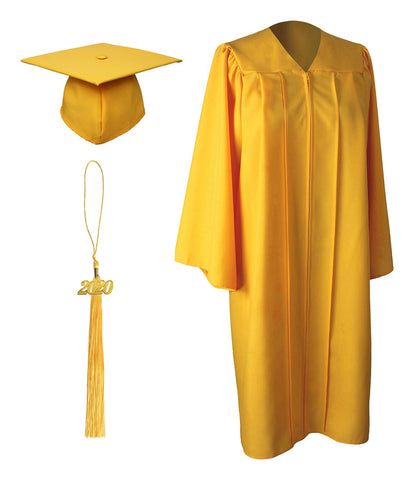 Gold Matte Graduation Gown Cap With Tassel