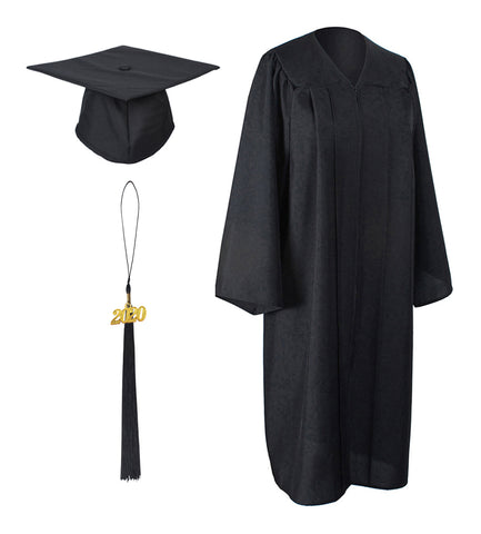 Black Matte Graduation Gown Cap With Tassel