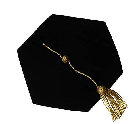 GraduationForYou Doctoral Tam With Gold Bullion Tassel - 6 Sides