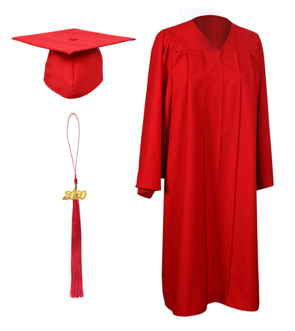 Red Matte Graduation Gown Cap With Tassel