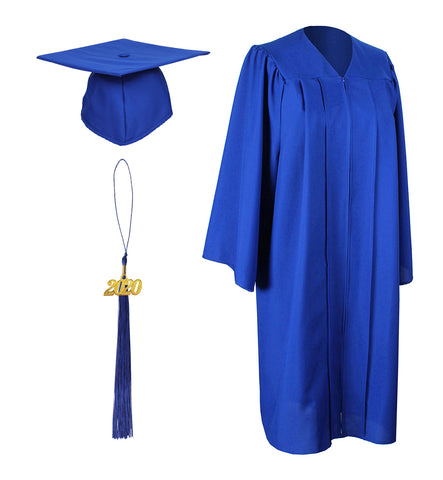 Royal Blue Matte Graduation Gown Cap With Tassel