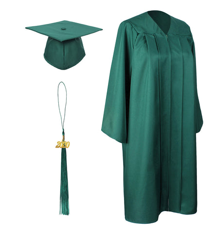 Forest Green Matte Graduation Gown Cap With Tassel