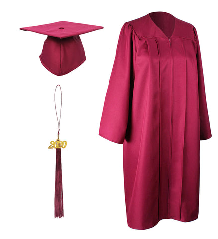 Maroon Matte Graduation Gown Cap With Tassel