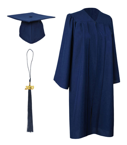 Navy Blue Matte Graduation Gown Cap With Tassel