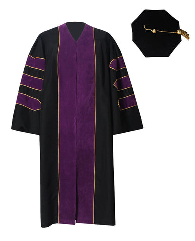 GraduationForYou Deluxe Doctoral Gown and 8-Sided Tam Set