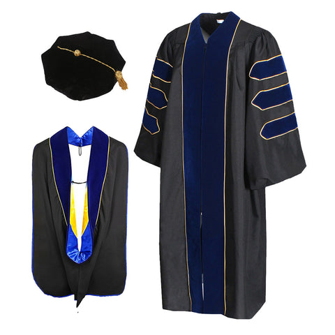 Deluxe Doctoral Graduation Gown Hood and 8-Sided Tam Package Orange Color