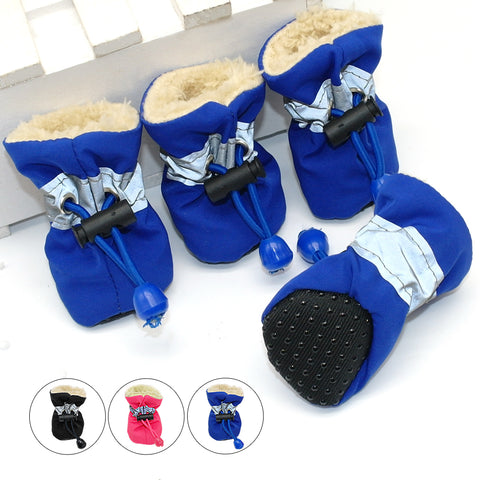 4pcs Waterproof Winter Pet Dog Shoes Anti-slip Rain Snow Boots Footwear Thick Warm For  Small Cats Dogs Puppy Dog Socks Booties - Big Barks