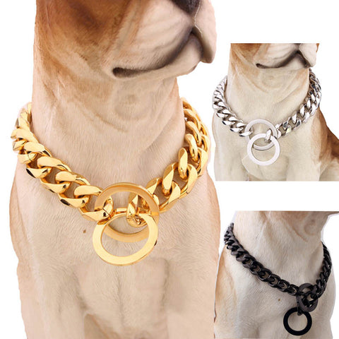 15mm Strong Silver Gold Stainless Steel Slip Dog Collar Metal Dogs Training Choke Chain Collars for Large Dogs Pitbull Bulldog - Big Barks