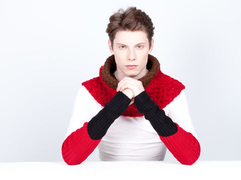 Baby Alpaca Sleeve Warmer | Block | Red and Black