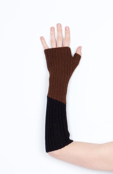 Arm Warmer Baby Alpaca with Thumb | Black and Brown