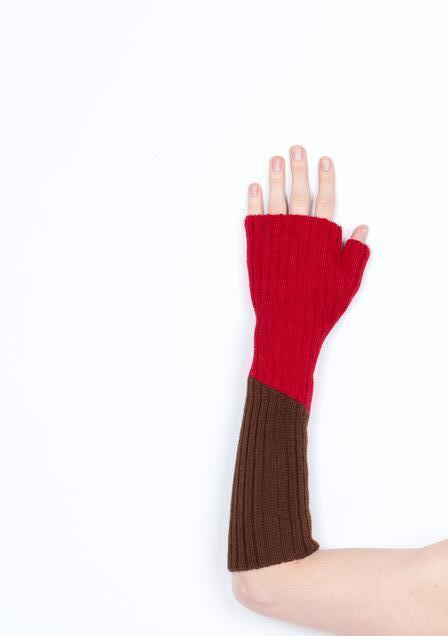 Arm Warmer Baby Alpaca with Thumb | Block | Brown and Red