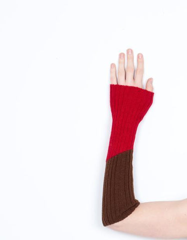 Baby Alpaca Sleeve Warmer | Block | Red and Brown