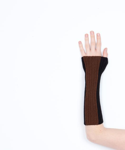 Arm Warmer Baby Alpaca | Block | Black and Brown