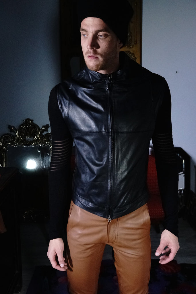Leather Vest with Double Zipper