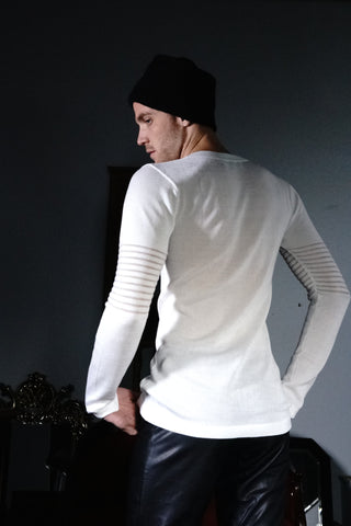 Knit V-Neck Mesh | White