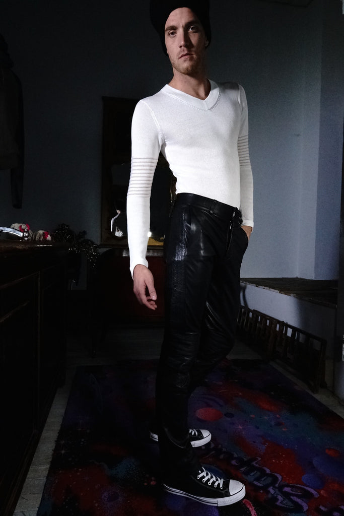 Pants Black Leather | Black Embroidering
