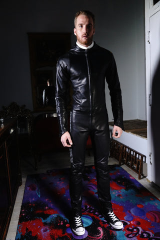 Streamline Leather Suit Black with White Embroidering