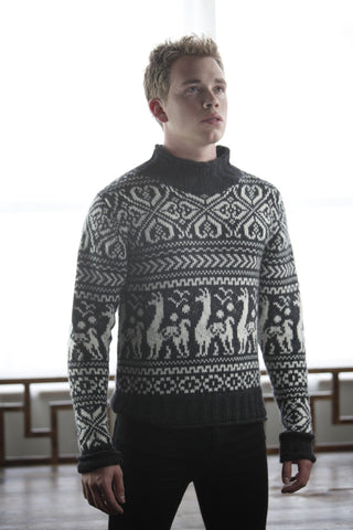 Baby Alpaca Jacquard Sweater | Off White & Black