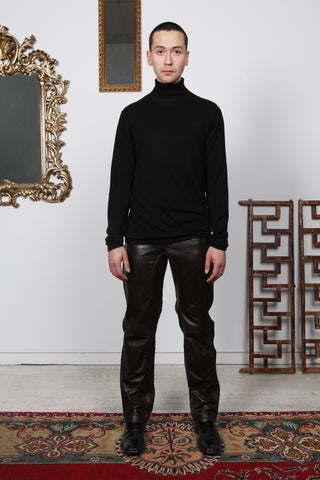 Knit Pima  Cotton Black Turtle Neck