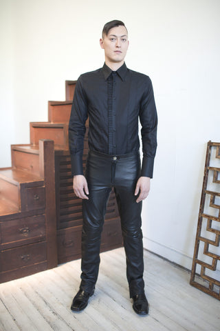 Shirt Pleated Tuxedo Black