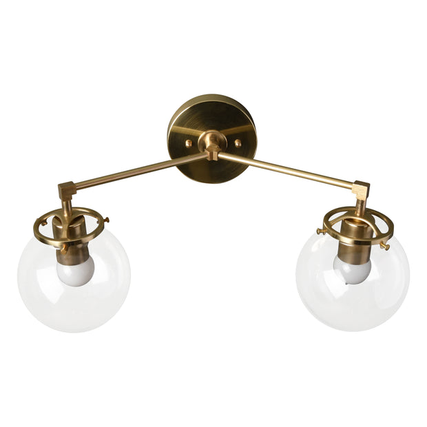 Industrial style globe 2 light wall sconce