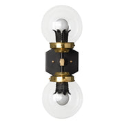Decorative modern style vertical wall sconce with clear glass globes