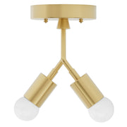mid century inspired modern 2 light semi flush fixture