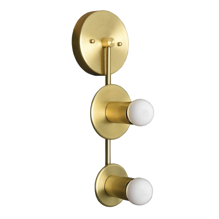 modern brass 2 light vertical wall sconce
