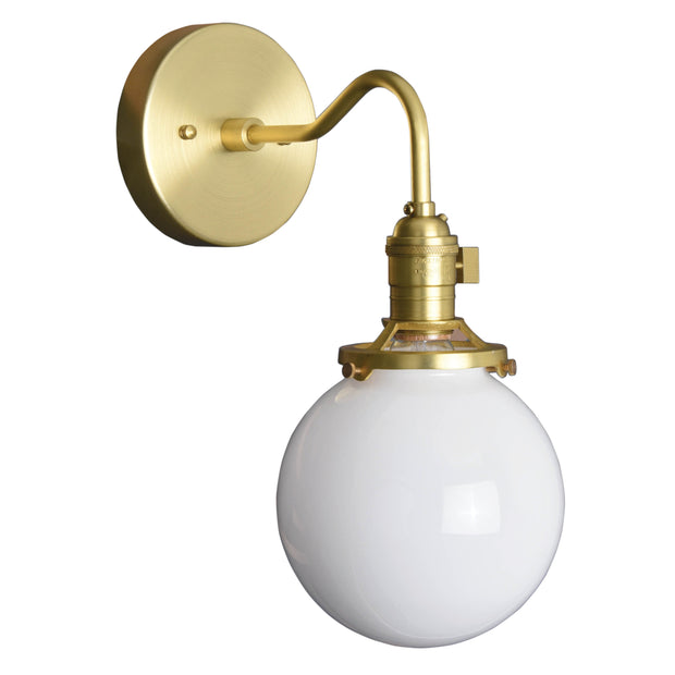 Industrial globe curved arm wall sconce