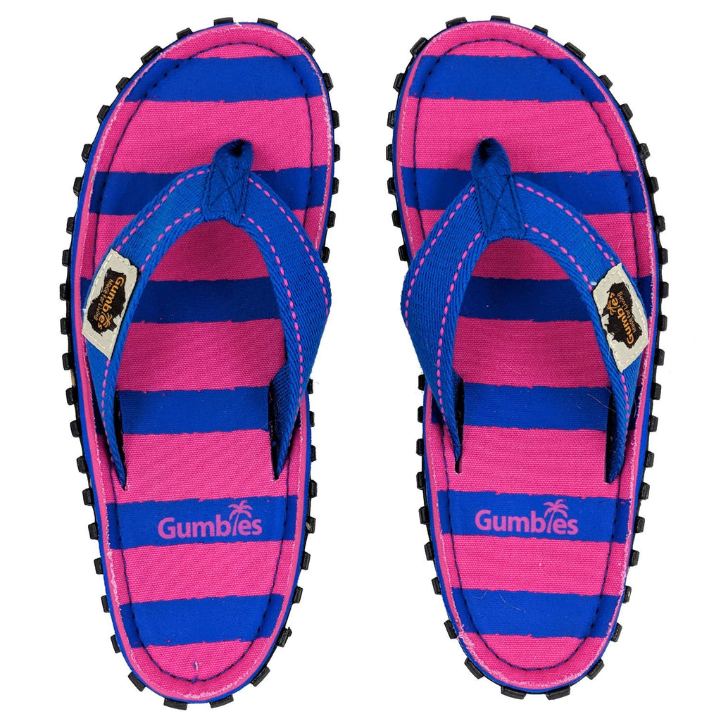 Islander Canvas Flip-Flops - Blue & Pink Stripe