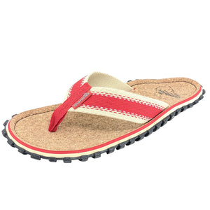 Corker Natural Cork Flip-Flops - Red