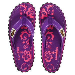 Islander Canvas Flip-Flops - Purple Hibiscus