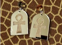Egyptian Themed Mirror arch earrings