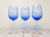 Yankees  vs. Mets wine glasses